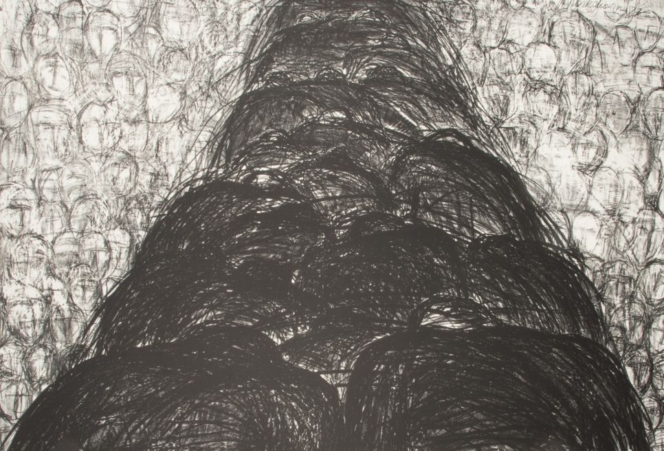 Magdalena Abakanowicz lithograph featuring a dark path in the middle surrounded by light circles signifying heads
