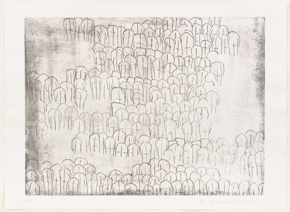 Magdalena Abakanowicz etching featuring a crowd of pointed corporeal shapes throughout