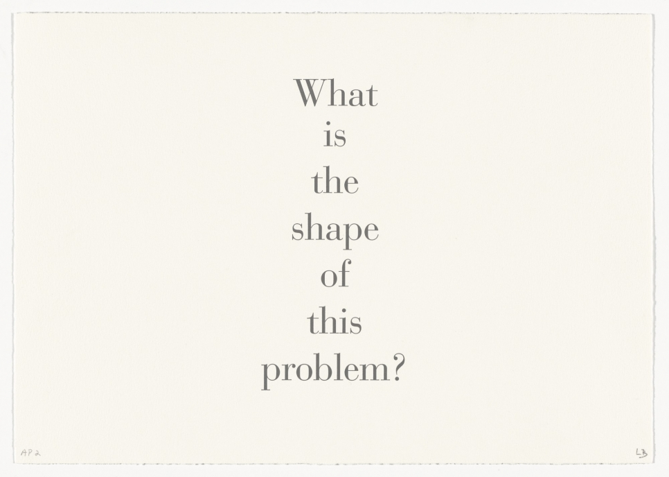 Letterpress of dark grey serif font with the text 'What is the shape of this problem?' by Louise Bourgeois