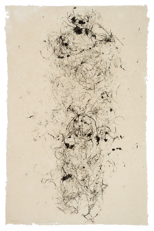Monoprint by Michele Oka Doner of abstract lines on a white background