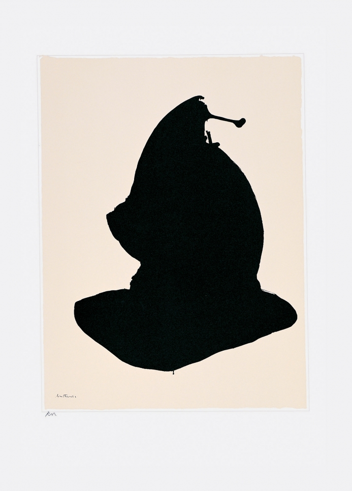 Black screen print of an abstract shape on white paper by Robert Motherwell