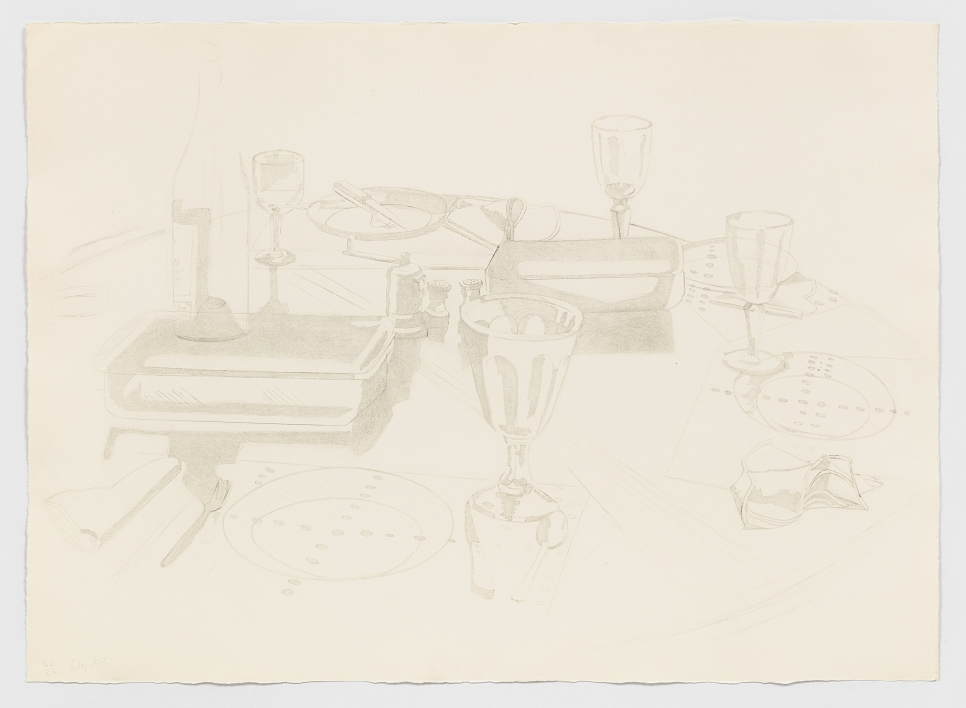 Aquatint and drypoint of a dinner table with tableware, glassware, and a wine bottle by Alex Katz