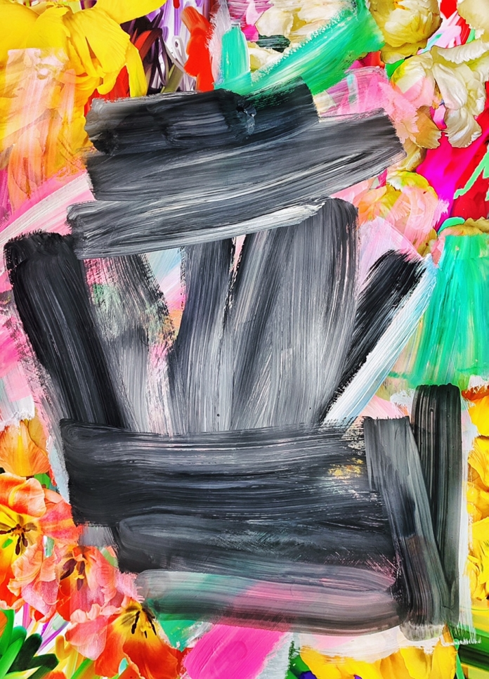 Photograph of flowers painted over with wide, brightly-coloured brushstrokes by Alexandra Penney