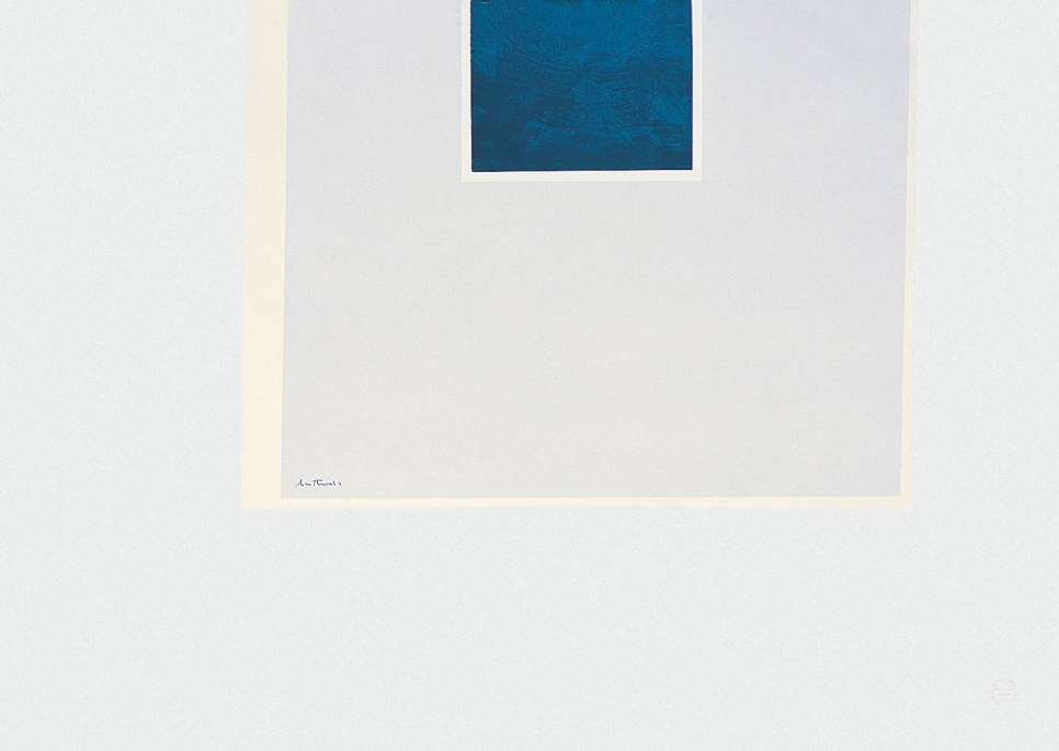Screen print by Robert Motherwell of a blue rectangle within two larger white rectangles