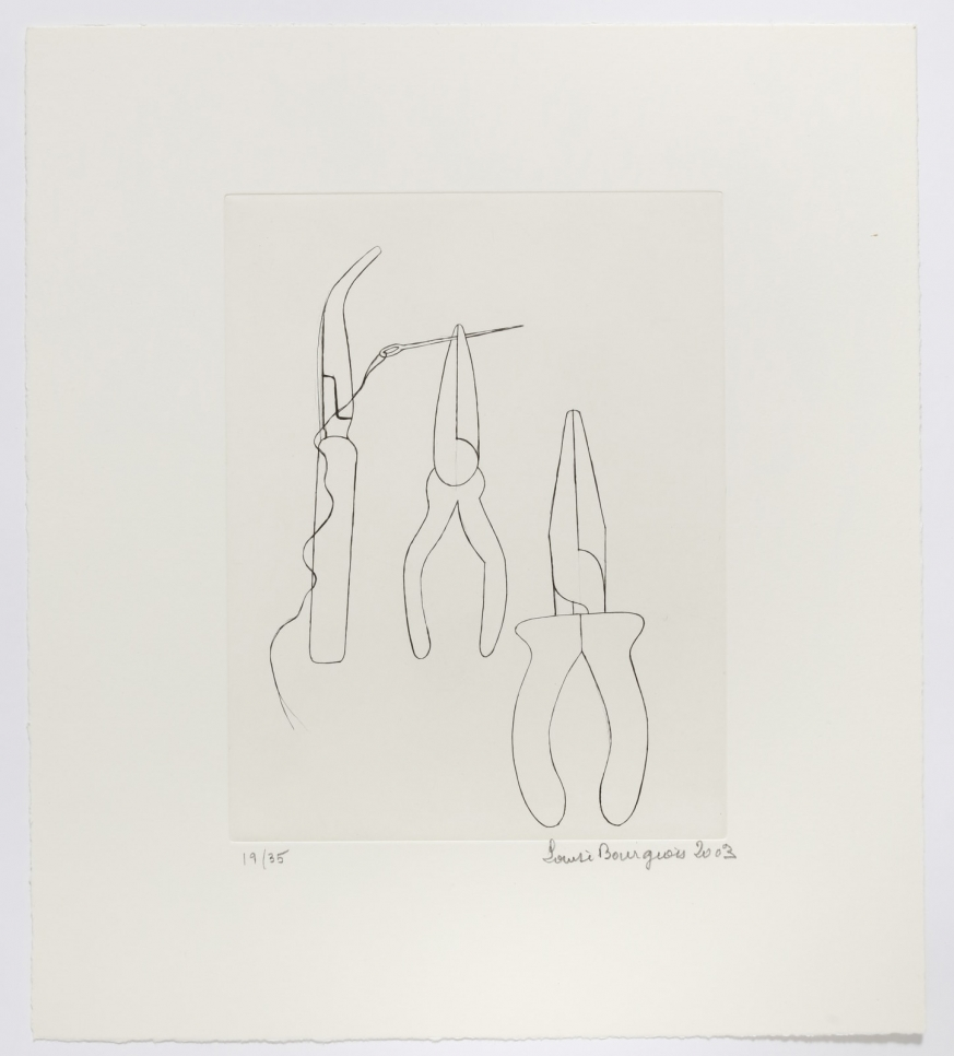 Drypoint of work tools, including tweezers and two pliers, one of which is pinching a needle with thread by Louise Bourgeois