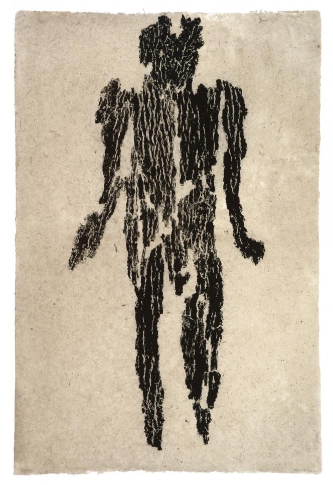 Monoprint by Michele Oka Doner of a black figure on a white background