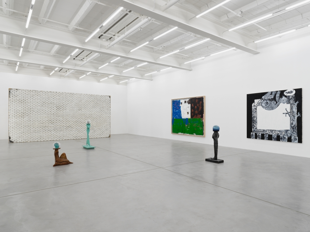 Installation view of group painting and sculpture exhibition