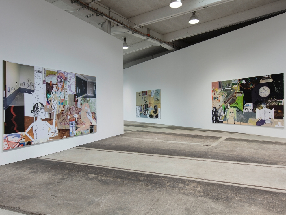 Installation view of three paintings by Michael Williams