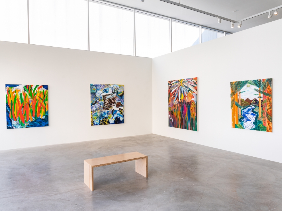 Installation view of Shara Hughes paintings exhibition