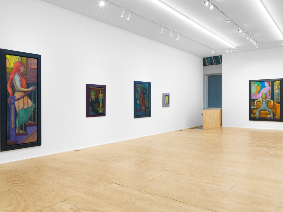 Installation view of Steven Shearer paintings and drawings exhibition