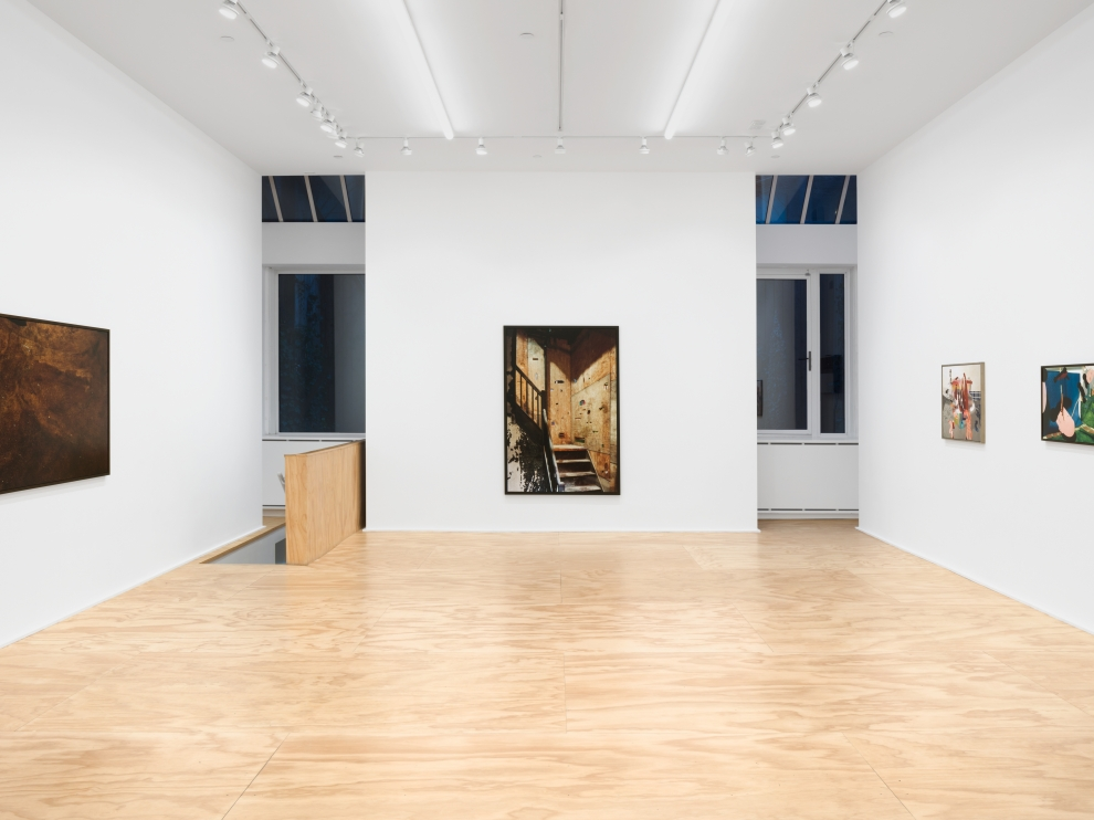 Installation view of Lucas Blalock photography and sculpture exhibition