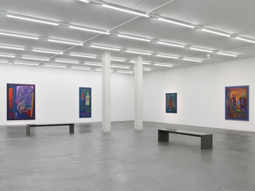 Installation view of Steven Shearer paintings, drawings, and printed works exhibition