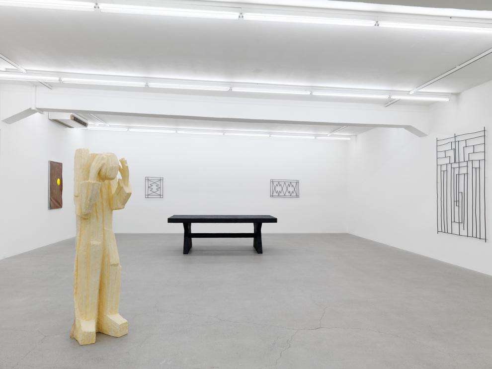 Installation view of Valentin Carron sculpture exhibition