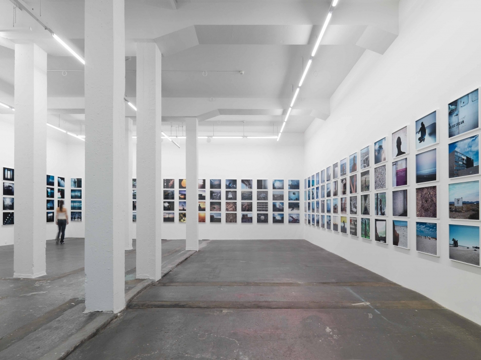 Installation view of Doug Aitken sculpture and photography exhibition