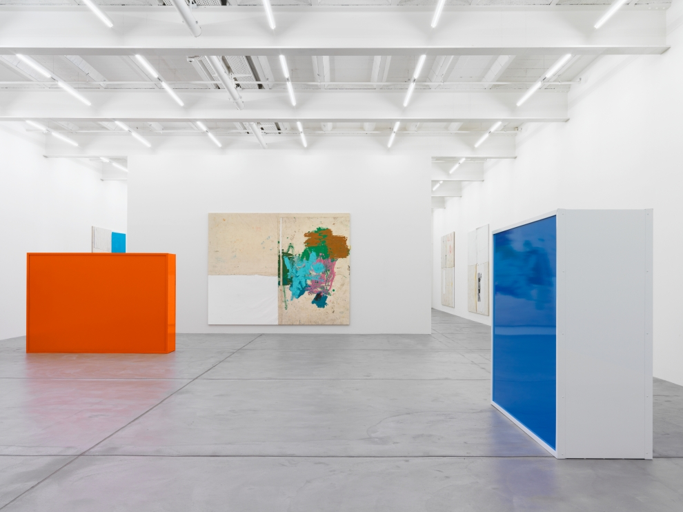 Installation view of Joe Bradley painting and sculpture exhibition