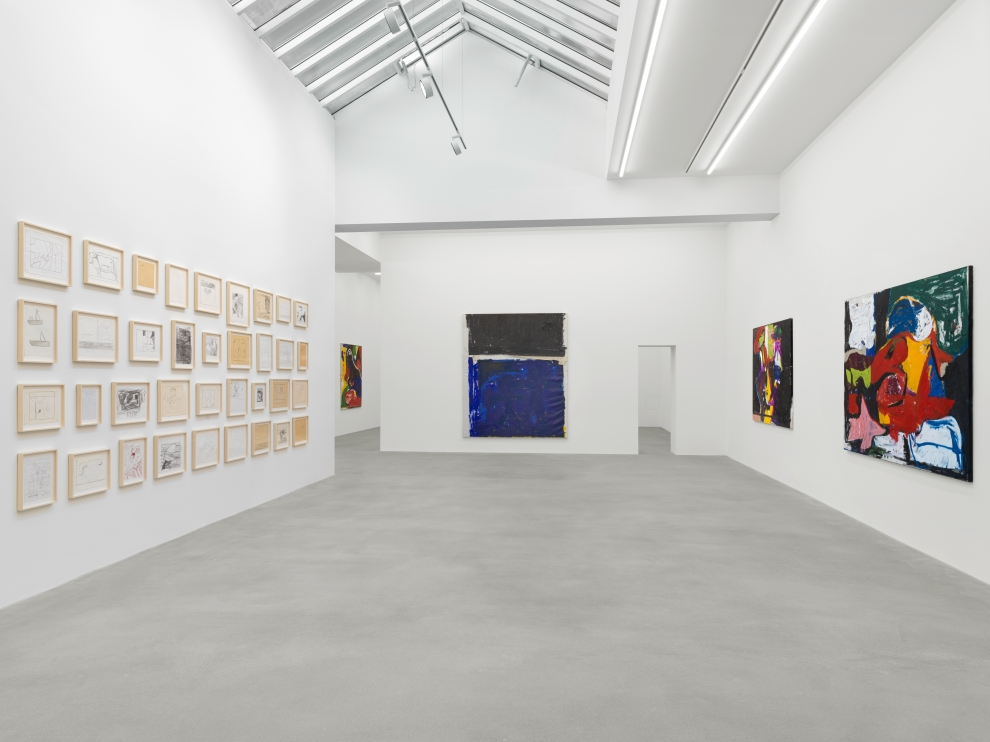 Installation view of Joe Bradley painting and drawing exhibition