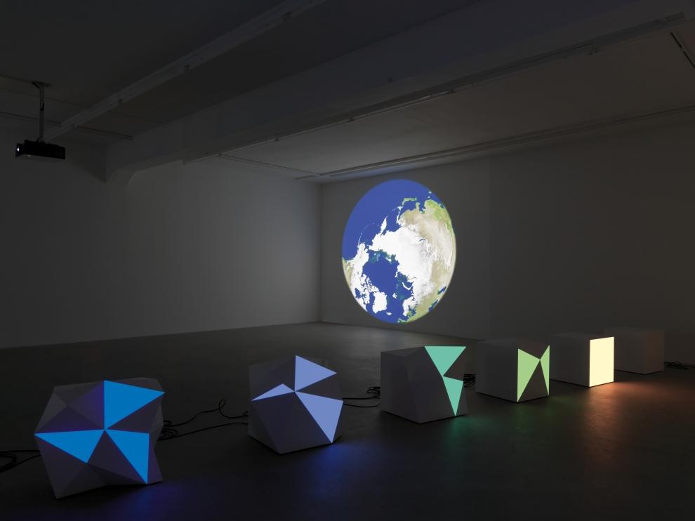 Installation view of Angela Bulloch sculpture and installation exhibition