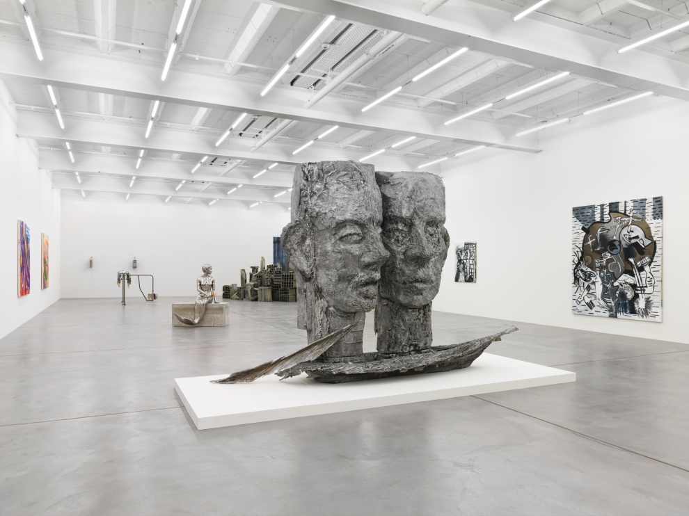 Installation view of group painting, sculpture, and film exhibition