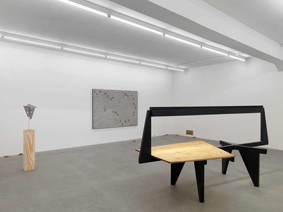 Installation view of Martin Boyce sculpture and photography exhibition