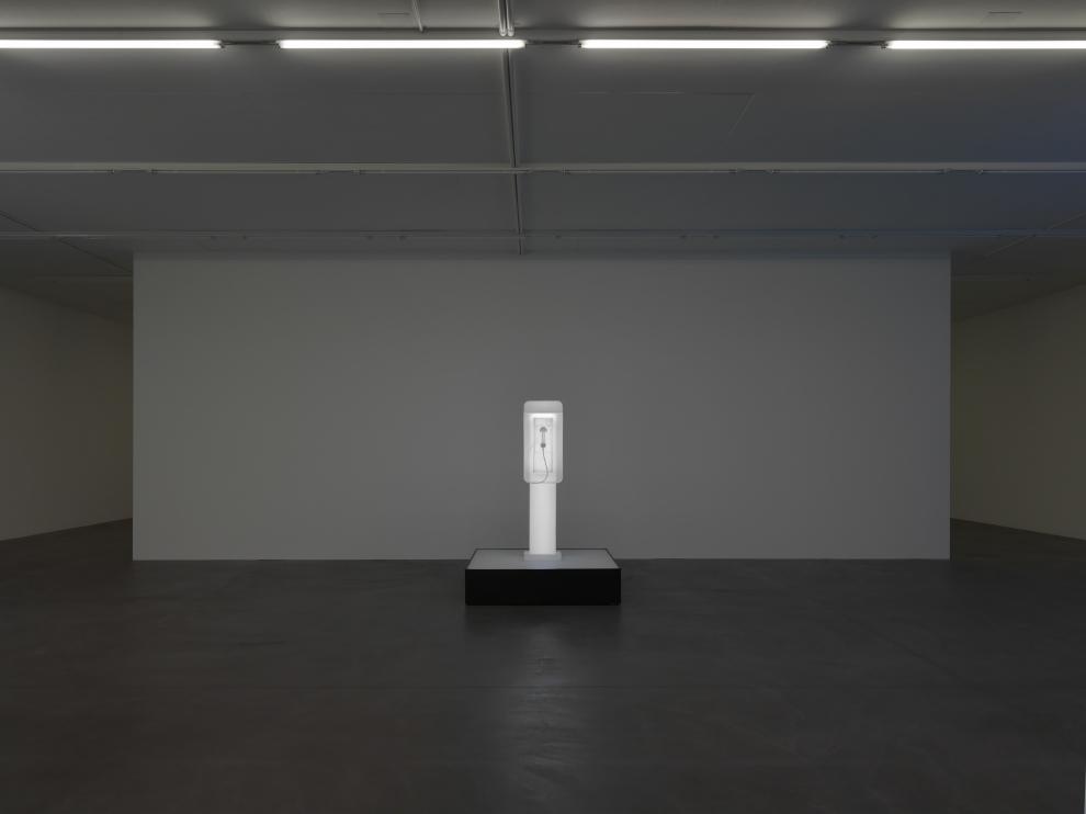 Installation view of Doug Aitken sculpture exhibition