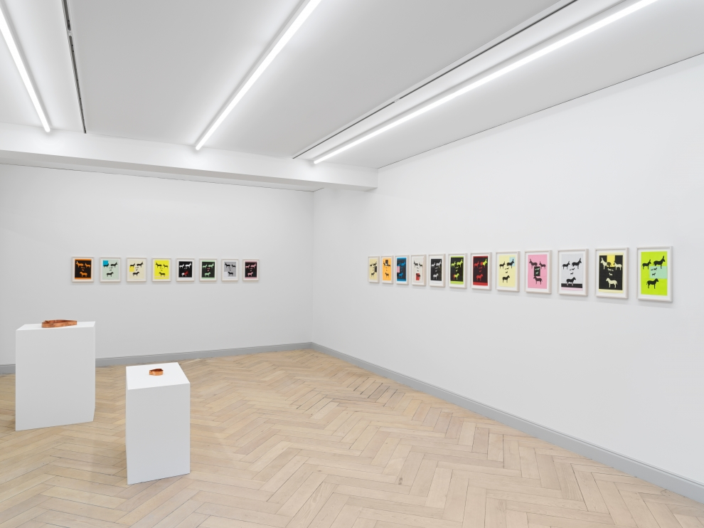 Installation view of Valentin Carron collage and sculpture exhibition
