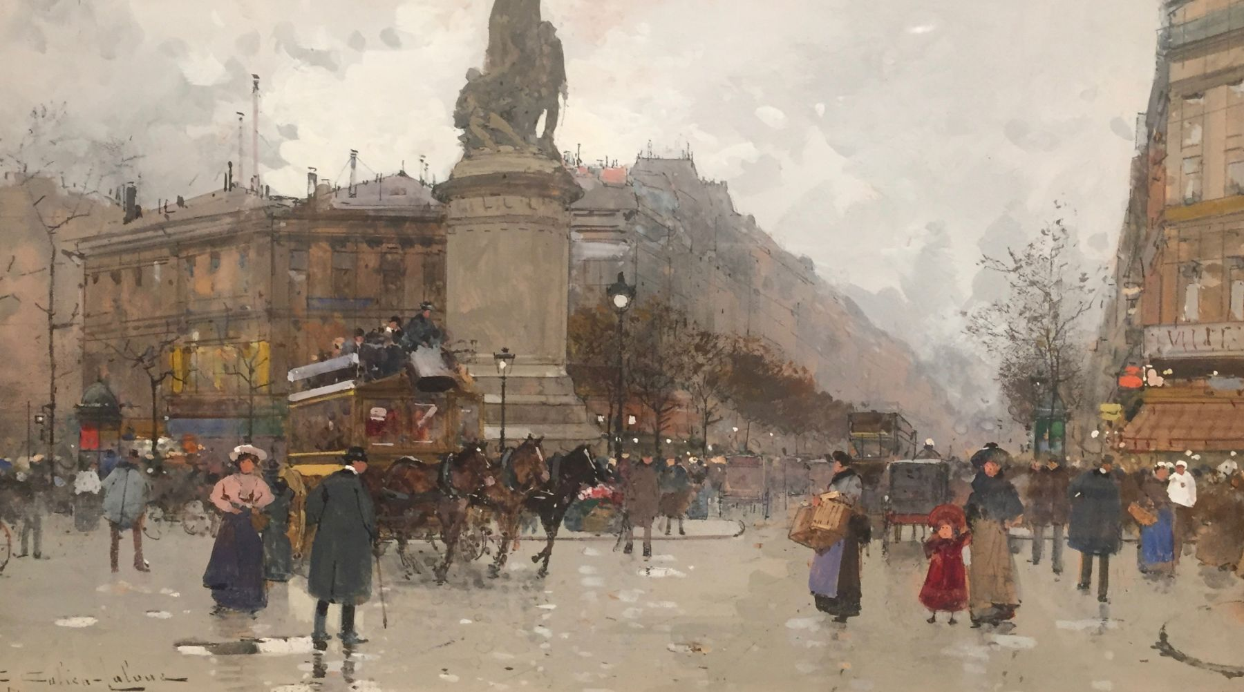 EUGENE GALIEN-LALOUE (1854-1941) Place Moncey Gouache on paper, 7 x 11.75 inches
