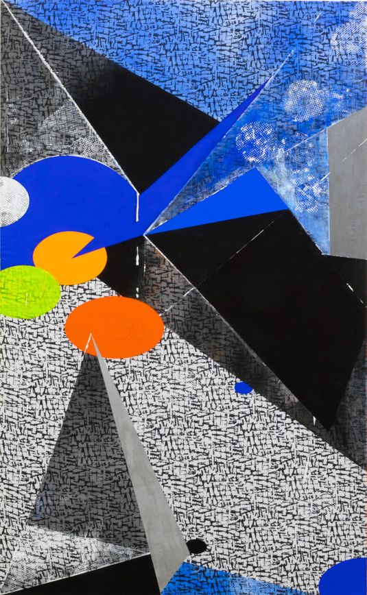 JANET JONES | HOT SPOTS | ACRYLIC, GOUACHE ON PRINTED CANVAS | 78 X 48 INCHES | 2017,
