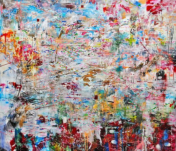 AMY SCHISSEL | MAINTAIN THETA | MULTIMEDIA ON CANVAS | 55 X 65 INCHES | 2011