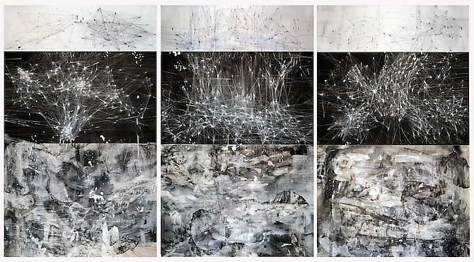 AMY SCHISSEL | CYBERFIELDS | 3 OF 9 PANELS | ACRYLIC, INK, CHARCOAL, MIXED MEDIA ON PAPER | 96 X 132 INCHES | 2012
