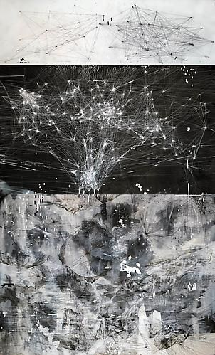 AMY SCHISSEL | CYBERFIELDS | PANEL 1 | ACRYLIC, INK, CHARCOAL, MIXED MEDIA ON PAPER | 44 X 96 INCHES | 2012