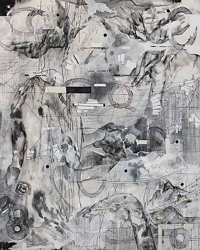 AMY SCHISSEL   ALTO TERRA 3   PLASTER, ACRYLIC, INK, GRAPHITE, PAPER ON WOOD   20 X 24 INCHES   2014