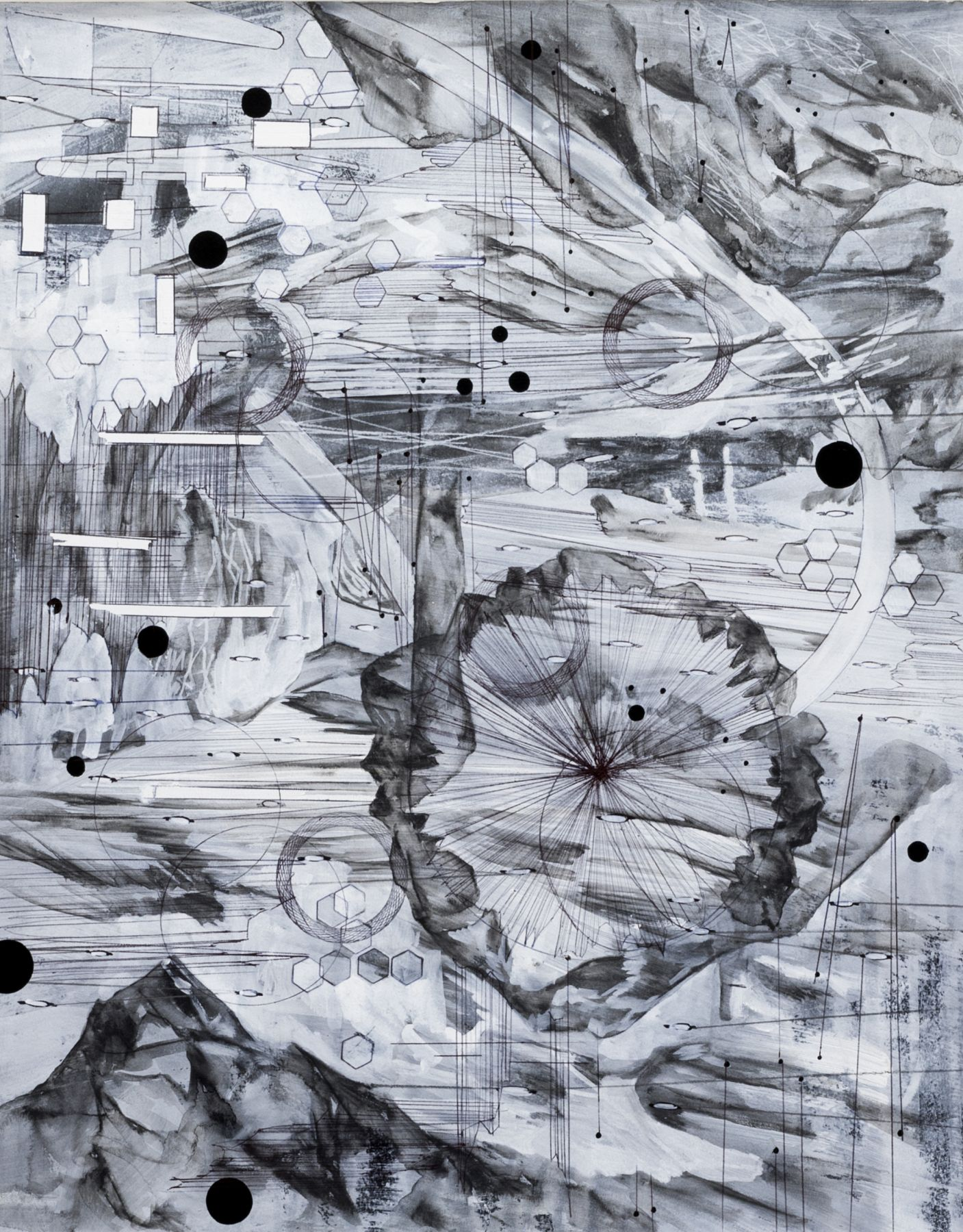 AMY SCHISSEL   POST DIGITAL LANDSCAPES SERIES #8  ACRYLIC, GRAPHITE, CHARCOAL AND INK ON PAPER   22,5 X 18 INCHES   2017,