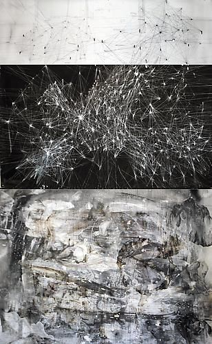 AMY SCHISSEL   CYBERFIELDS   PANEL 3   ACRYLIC, INK, CHARCOAL, MIXED MEDIA ON PAPER   44 X 96 INCHES   2012