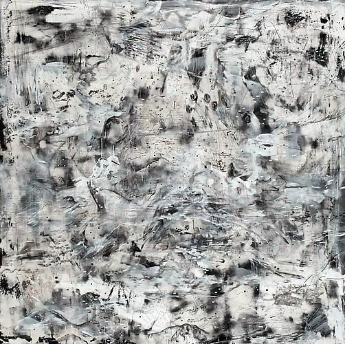 AMY SCHISSEL   EARTH SYSTEMS RELEASE 2   ACRYLIC, PLASTER, INK, GRAPHITE, PAPER ON WOOD   60 X 60 INCHES   2012