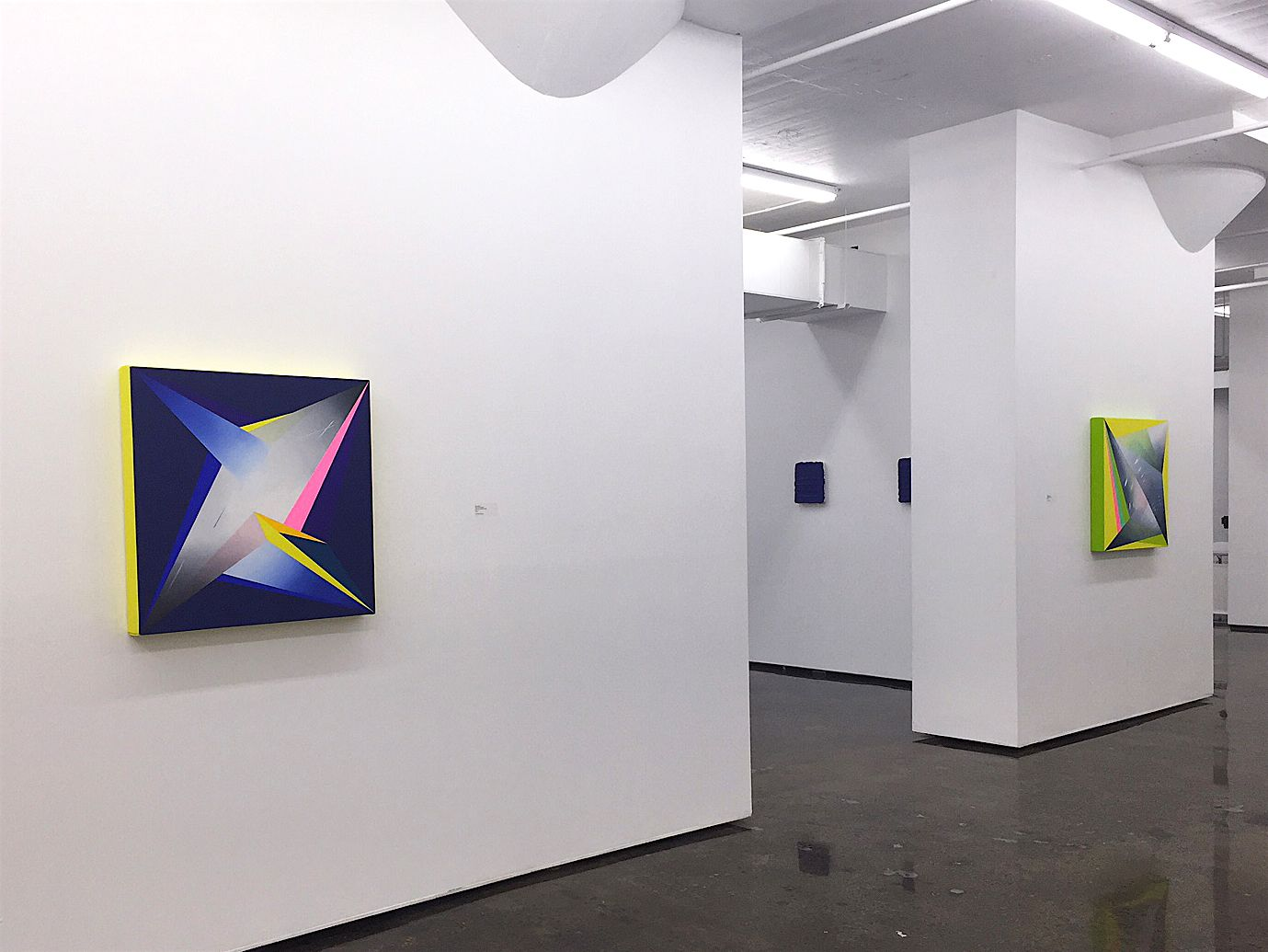 JANET JONES   STARRY, STARRY NITE #1 & #4   INSTALLATION VIEW  OIL AND ACRYLIC ON CANVAS   30 X 30INCHES EACH   2016