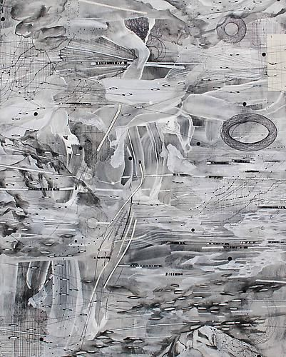 AMY SCHISSEL   ALTO TERRA 2   PLASTER, ACRYLIC, INK, GRAPHITE, PAPER ON WOOD   20 X 24 INCHES   2014