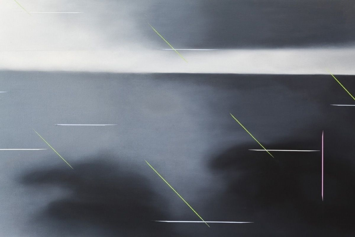 JANET JONES   NOWHERE EVERYWHERE #2(DETAIL)   OIL AND ACRYLIC ON CANVAS   30 X 120 INCHES   2004