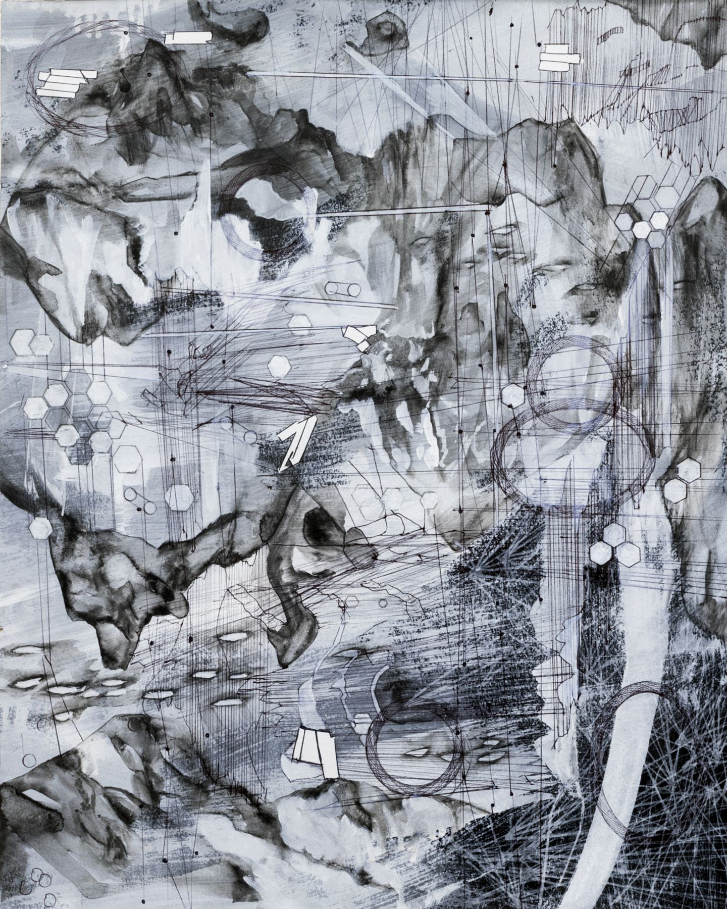 AMY SCHISSEL   POST DIGITAL LANDSCAPES SERIES #7  ACRYLIC, GRAPHITE, CHARCOAL AND INK ON PAPER   22,5 X 18 INCHES   2017