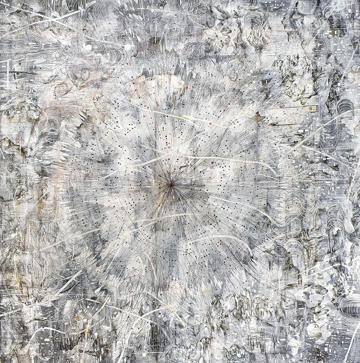 AMY SCHISSEL   CHECKPOINT   ACRYLIC, GRAPHITE, CHARCOAL AND INK ON PAPER   98 X 98 INCHES   2020