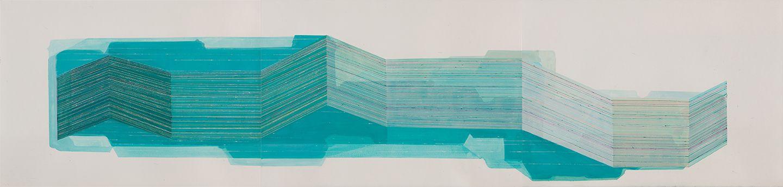 ANTONIETTA GRASSI   SUBMERGING   ACRYLIC, INK ON PAPER   30 X 90 INCHES   2018