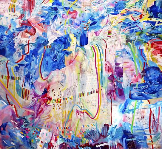 AMY SCHISSEL   5TH AVENUE  ACRYLIC ON CANVAS   72 X 72 INCHES   2013