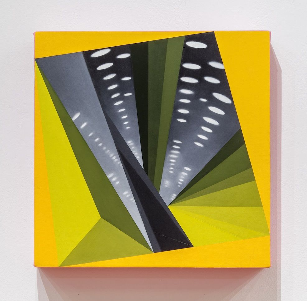 JANET JONES   HYPNO-MERGE INTO DAZZLE DAYS #2  OIL AND ACRYLIC ON CANVAS   18 X 18INCHES  2012