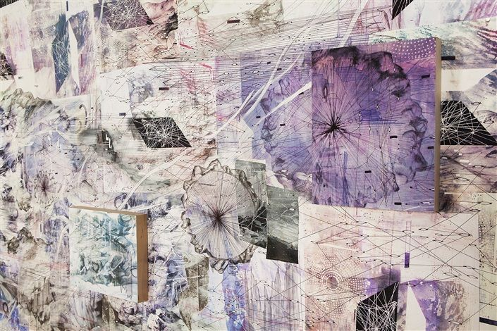 AMY SCHISSEL   DOUBLE STANDARD 2 (DETAIL) PAINTING, ACRYLIC, OIL, GESSO, GRAPHITE, INK ON PAPER ON BOARD INSTALLATION VIEW AT VOLTA NY  10 X 10 FEET   2016