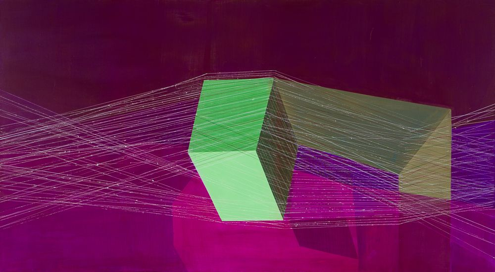 ANTONIETTA GRASSI   SPIN CITY  ACRYLIC AND INK ON CANVAS   40x 72 INCHES  2017