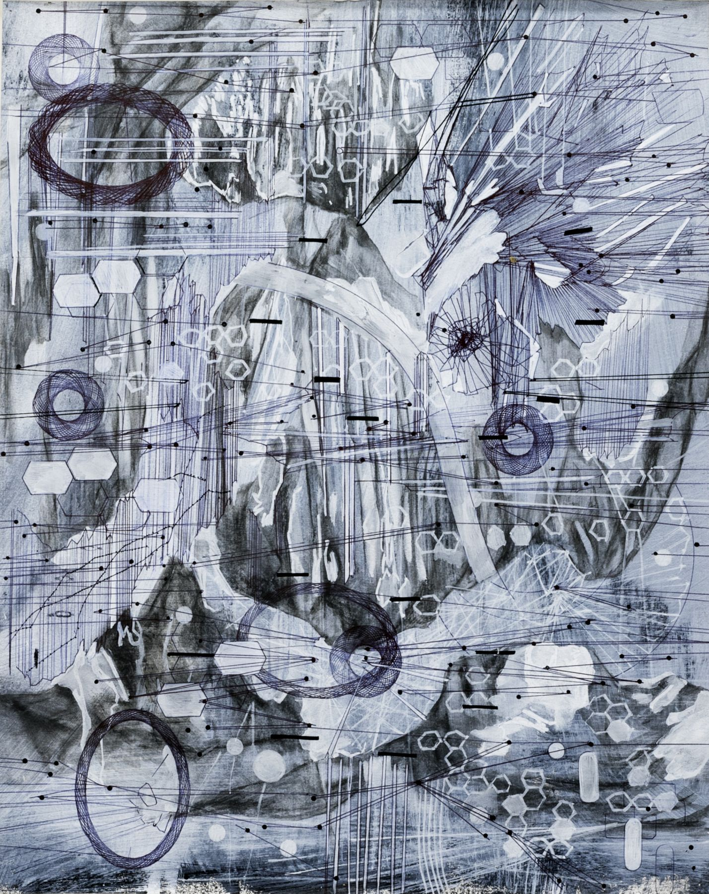 AMY SCHISSEL   POST DIGITAL LANDSCAPES SERIES #5   ACRYLIC, GRAPHITE, CHARCOAL AND INK ON PAPER   22,5 X 18 INCHES   2017