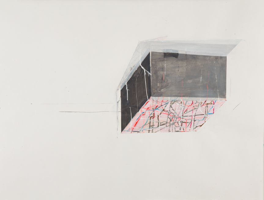 ANTONIETTA GRASSI   HOUSE FLOAT NO.2  ACRYLIC, INK AND COLLAGEON PAPER   30X 40INCHES   2015