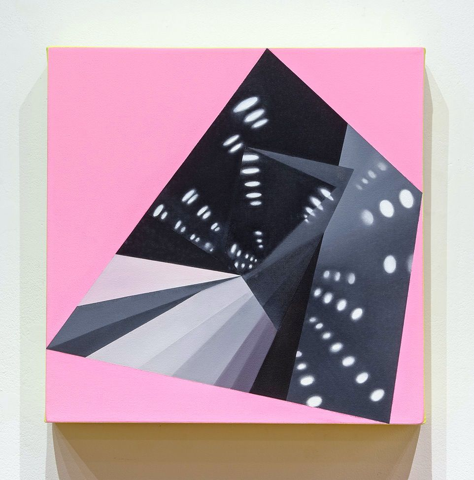 JANET JONES   HYPNO-MERGE INTO DAZZLE DAYS #5  OIL AND ACRYLIC ON CANVAS   18 X 18 INCHES   2012