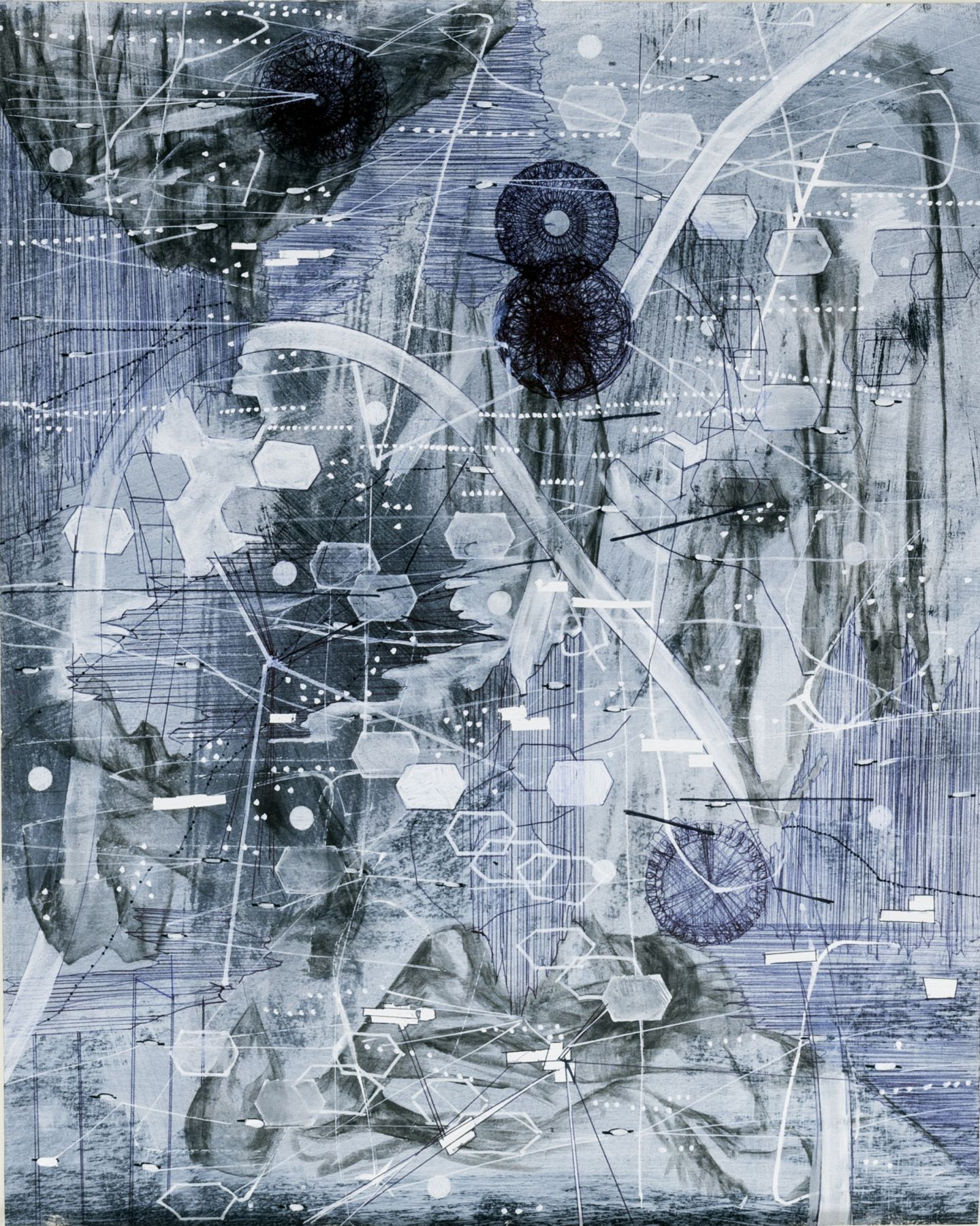 AMY SCHISSEL   POST DIGITAL LANDSCAPES SERIES #4  ACRYLIC, GRAPHITE, CHARCOAL AND INK ON PAPER   22,5 X 18 INCHES   2017,