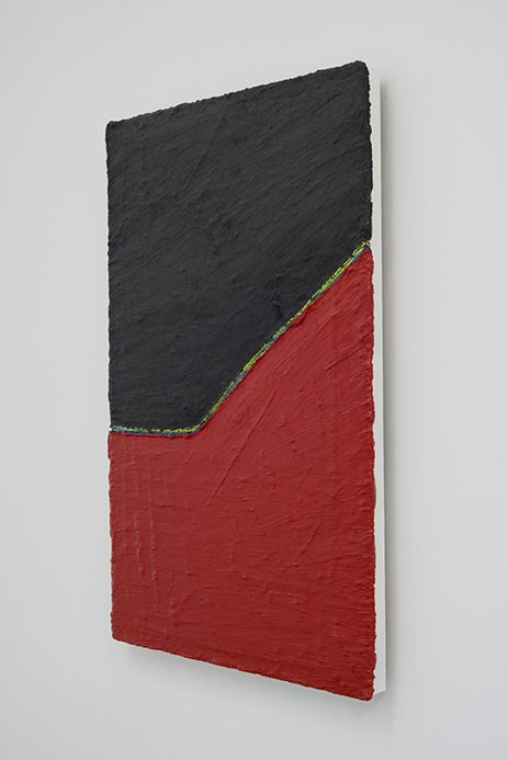 PAUL BUREAU   OUT OF SHAPE (BLACK/RED)  OIL PAINT AND OIL PASTEL ON CANVAS   41X 26INCHES   2014