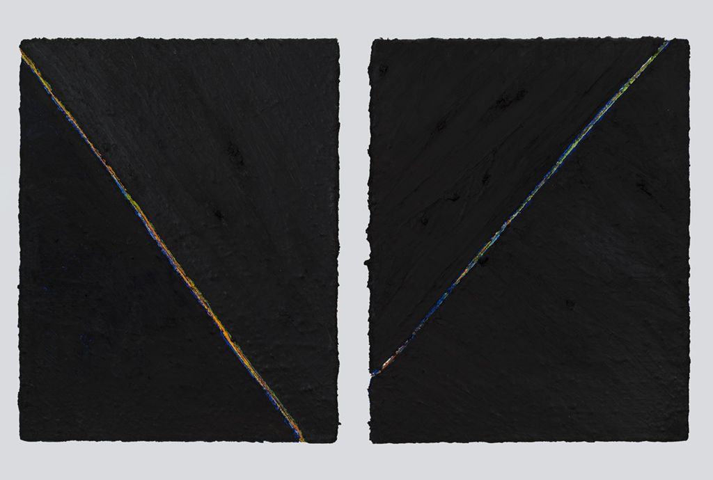 PAUL BUREAU   OUT OF SHAPE (B) (DIPTYCH)  OIL PAINT AND OIL PASTEL ON CANVAS   28X 22INCHES EACH   2015